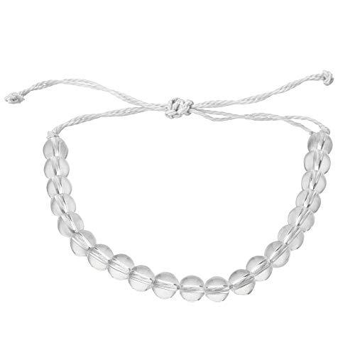 - DFYtr511po Transparent Beaded Weaving Rope Bracelet Unisex Adjustable Handmade Bangle Gift White