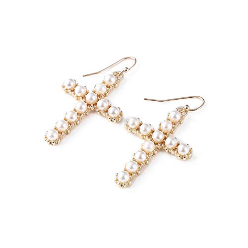 DYbaby Gold Plating Pearl Cross Earrings Dangle Earrings Jewelry for Her (Gold Cross)