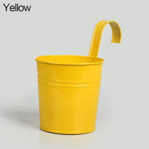 Holrea Metal Iron Hanging Flower Pot Balcony Garden Plant Planter Garden Patio Planter Flower Pots Vase Basket Wall Hanging Metal Bucket Flower Holders for Indoor Outdoor Yellow