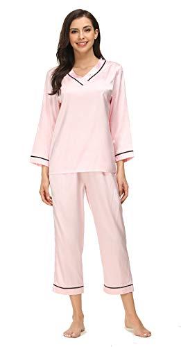 Kiddom Womens Classic Silk Satin Pajamas Set Loungewear Nighgowns Long Sleeve Sleepwear