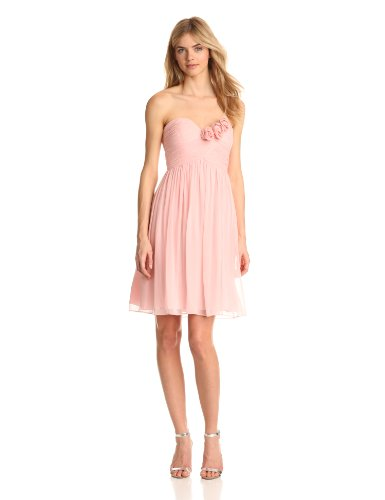 Donna Morgan Women's Mary Strapless Chiffon with Rosettes Dress, Blush, 12 (Donna Morgan Silk Chiffon)