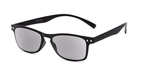 Readers.com Sun Reader: The Declan Flexible Reading Sunglasses Plastic Retro Square Style for Men and Women - Black with Smoke, ()
