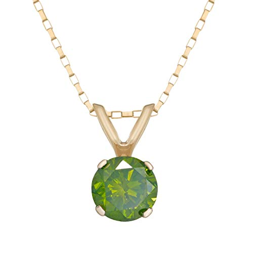 14K Yellow Gold Green Round Diamond .50 cttw Solitaire Pendant Necklace on 18