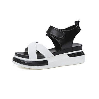 delle donne YCMDM sandali estivi slingback Creepers Luce Suole PU Abito informale all'aperto Tallone piano Magic Tape Walking , black , us7.5 / eu38 / uk5.5 / cn38