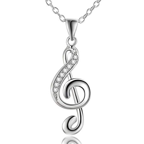 (New Party Jewelry Wholesale Creative Music Symbol Pendant Necklace Inlaid Stone Female Fashion Silver Plated Jewelry LN011)