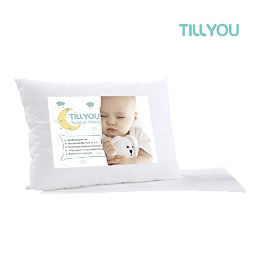TILLYOU Hypoallergenic Baby Toddler Pillow with Pillowcase Washable Kids Pillow for Sleeping, 100% Soft Cotton Pillow Case Cover Included 14x20, Fits Toddler Bed or Crib, Travel Size 13x18 White Small
