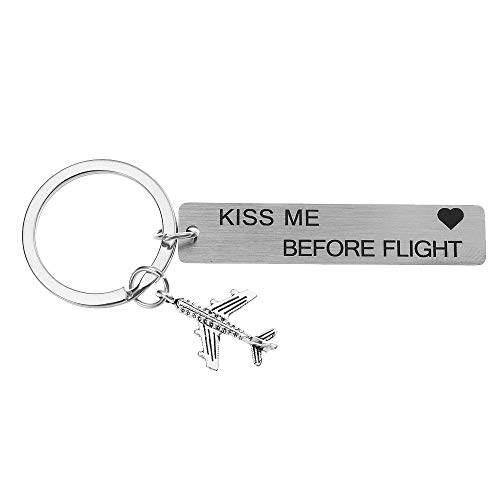 Airplane Factory - Kiss Me Before Flight Pilot Gift Keychain Traveling Keychain Flight Attendant Air Hostess Stewardess Gift Airplane Jet Keychain