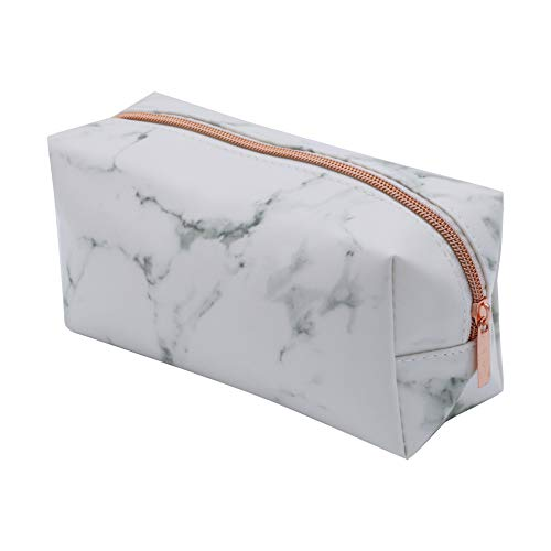 Rumfo Cosmetic Toiletry Makeup Bag Pouch Gold Zipper Storage Bag Marble Pattern Portable Makeup Brushes Bag (Rose Gold)