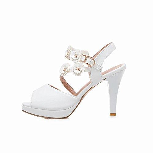 Mee Shoes Women's Sweet Flower High Heel Buckle Sandals White IDUlIh
