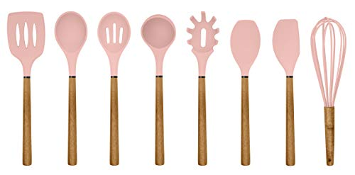 Pink Spatula - Country Kitchen Silicone Cooking Utensils, 8 Pc Kitchen Utensil Set, Easy to Clean Wooden Kitchen Utensils, Cooking Utensils for Nonstick Cookware, Kitchen Gadgets and Spatula Set - Pink
