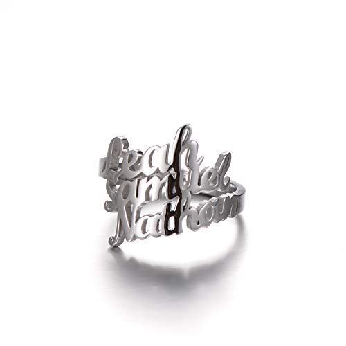 PEIMKO Name Ring Personalized 925 Sterling Silver Custom Made with 3 Names-Gift for Mother Promise Ring for Her (925 Sterling Silver)