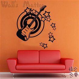 Guitar Star Pattern Musical Notes Music Classroom Living Room Nursery Removable Wall