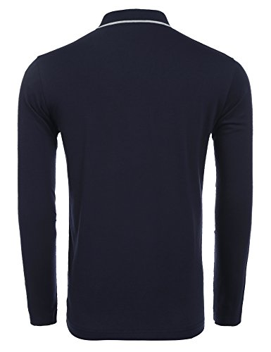COOFANDY Men's Long Sleeve Polo Shirt Classic Causal Business Slim Fit Cotton Short Sleeve Polo T Shirts,Navy Blue,Large by COOFANDY (Image #2)