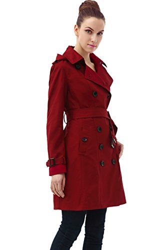 BGSD Women's Alexa Waterproof Classic Hooded Long Trench Coat - Red M