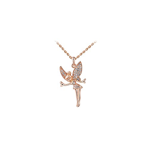 Deezire Jewels Rose Gold Vermeil Sparkling Angel or Fairy Pendant by Fashion Jewelry For Women ()