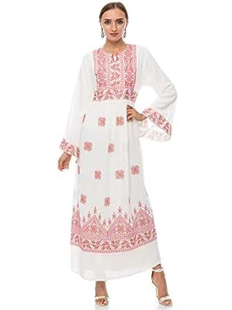 Hannah Embroidery White Festive Jalabiya For Women