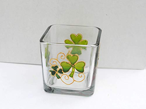 Green Shamrock Four Leaf Clover Hand Painted Stained Glass Square Candle Holder, St Patrick's Day Decor