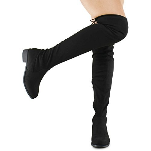 72e78cf67b1c Galleon - Premier Standard - Women's Fashion Comfy Vegan Suede Block Heel Side  Zipper Back Lace Thigh High Over The Knee Boots, TPS Olympia-14 Black Size 6