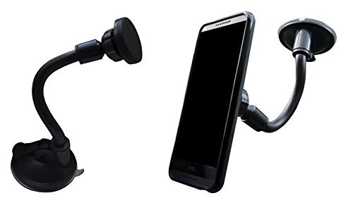 Lilware Soft Long Tube Universal Car Phone / GPS / PDA / MP3 Player Holder With Extra Secure - Suction System. Multifunctional Auto Phone Mount with Magnetic Disk. Black