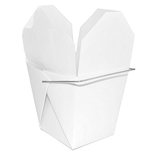 Chinese Take Out Boxes, Party Favor and Food Pail, White with Metal Wire Handle, 16 Ounce, 50pk,
