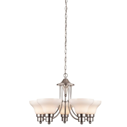 Westinghouse Satin Chandelier - Westinghouse 6228000 Swanstone Five-Light Interior Chandelier, Satin Nickel Finish with White Opal Glass