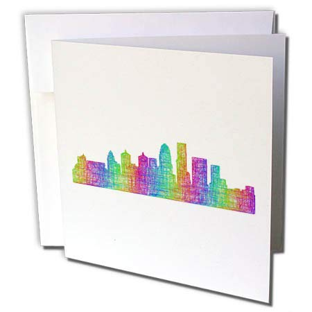 3dRose David Zydd - City Skylines - Louisville City Skyline - Multicolor line Art - 12 Greeting Cards with envelopes ()