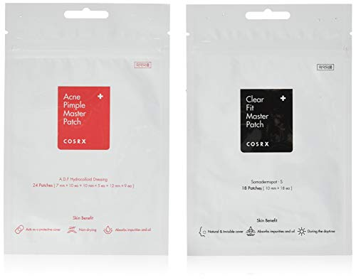 COSRX Acne Pimple Master Patch + COSRX Clear Fit Master Patch - Hydrocolloid Pimple Spot Remover [1 + 1 Pack]