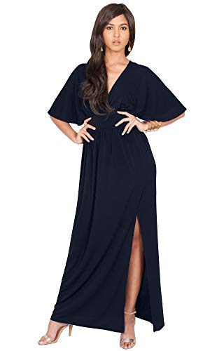 KOH KOH Petite Womens Long Sexy Kimono Short Sleeve Slit Split V-Neck Party Cocktail Evening Bridesmaid Wedding Guest Sun Gown Gowns Maxi Dress Dresses for Women, Dark Navy Blue S 4-6 (Best Fabric For Wedding Gown)