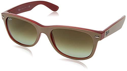 Ray-Ban Men's New Wayfarer Square Sunglasses, MATTE BEIGE ON OPAL RED, 52 mm (New Wayfarer 2132 52)