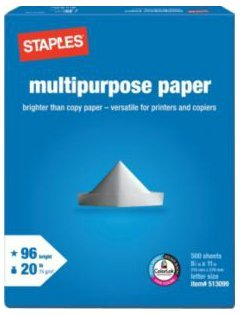 Staples Copy Paper 1 Reams Cases for HP, Xerox, Samsung, Kodak, and Cannon Printer, 500 Sheets