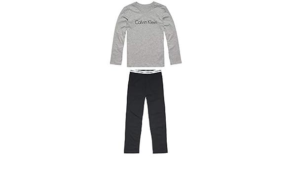 Calvin Klein LS Knit PJ Set Pijama, Gris (Grey Heather W/Black 044), única (Talla del Fabricante: 14-16) para Niños: Amazon.es: Ropa y accesorios