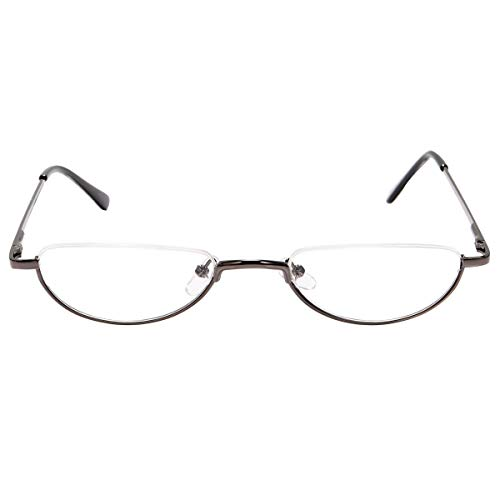 Fuaisi Vintage Alloy Half Moon Classic Reading Glasses Men And Women Half Frame Slim Glasses (Gun, -