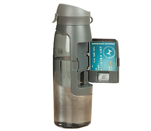 MS HOME Water Bottle with Hidden Storage Compartment | BPA-Free Gray, 24 Oz ()