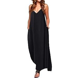 ACHIOOWA Mujer Vestido Elegante Casual Dress Cuello V Sin Manga Playa Tirantes Bolsillos Punto Falda Larga | DeHippies.com