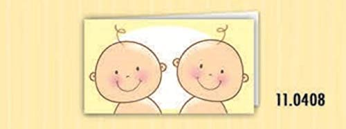 100 PZ Bigliettini bigliettino bomboniera NASCITA bambini gemelli Bigliettini Bomboniera