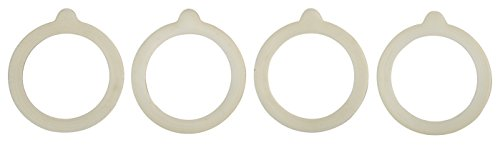 HIC Silicone Replacement Gasket Seals, Fits Regular Mouth Canning Jars, 3.75 x 3.75-Inches, Set of 4 ()