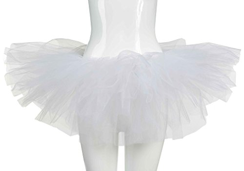 White Tutu Ballet Costume (Mljsh Organza Women's Classic White 5 Layered Dance or Ballet Tutu Dress up Skirt Bustle Costume)