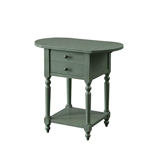 Furniture of America Dahlia Drop-Leaf Side Table in Antique Teal (Leaf Drop Table Antique Small)