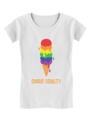 Equality Rainbow Ice Cream Pride Flag Toddler/Kids Girls' Fitted T-Shirt 5/6 White by Tstars