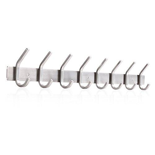 amzdeal Wall Mounted Coat Rack Wall Hook Rack for Keys Hats Belt Towel Stainless Steel Hook Rail, 8 Hooks, 24.4 Inch