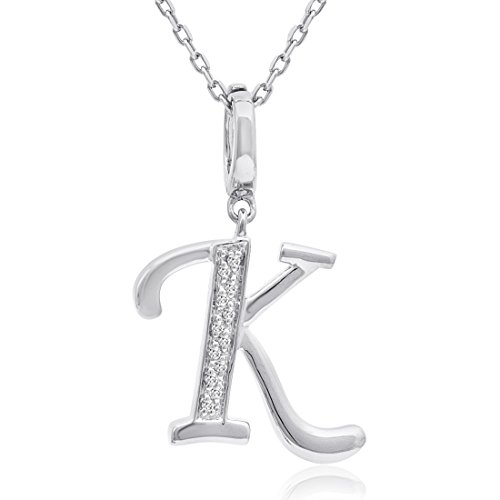 Diamond Initials Bracelet (Diamond Initial K Charm Pendant in Sterling Silver on an 18in. Chain)