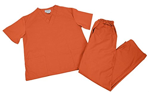 [NATURAL UNIFORMS Women's Scrub Set Medical Scrub Top and Pants M ORANGE] (Piper Chapman Costume)