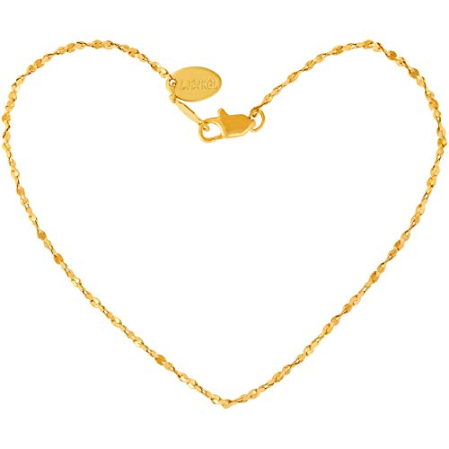 Lifetime Jewelry Ankle Bracelet for Women - Up to 20X More 24k Real Gold Plating Than Other Ankle Bracelets - Cute Twisted Nugget Chain Gold Anklet 9 10 and 11 inches (9.00, Yellow-Gold-Plated-Base)