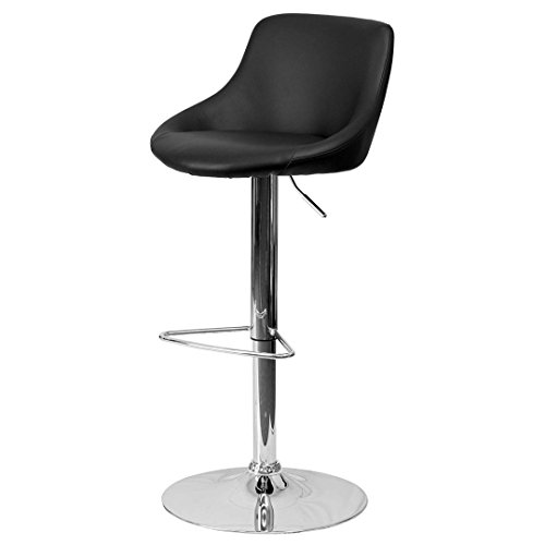 - KLS14 Modern Design Bar Stool Bucket Seat Design Hydraulic Adjustable Height 360-Degree Swivel Seat Sturdy Steel Frame Chrome Base Dining Chair Bar Pub Stool Home Office Furniture - (1) Black #1985