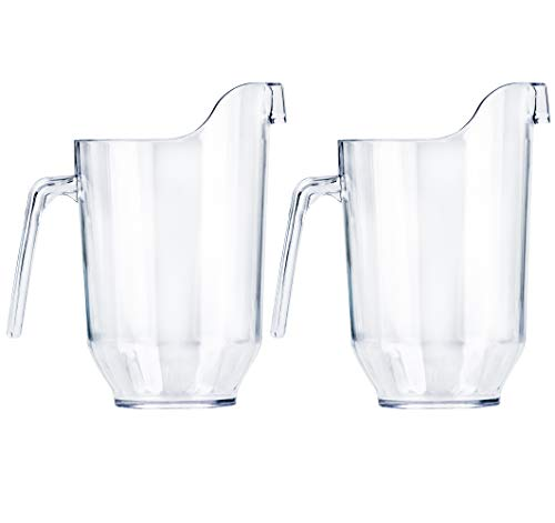 DecorRack 2 Crystal Clear Plastic Pitcher Beverage Dispenser with Pour Spout Shatterproof Catering and Restaurant Serveware for Cold Drinks, Water, Lemonade, Beer, and Sangria, 7 Cup Capacity (2 Pack)]()