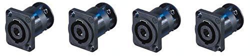 - 4 Neutrik SpeakOn NL4MP-ST 4-Pin Locking Speaker Panel Mount w/Screw Terminals