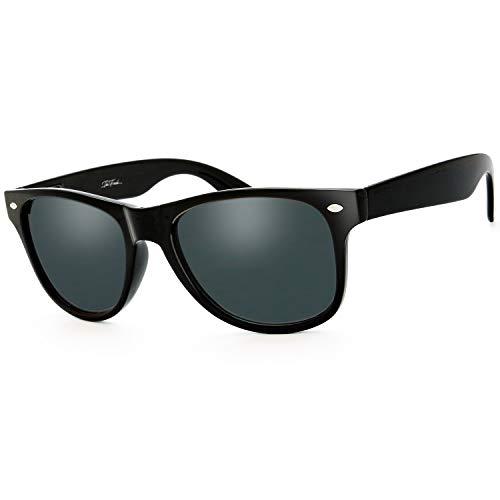 The Fresh Classic Shaped Horn Rimmed Polarized Sunglasses Spring Temple for Men Women (10-Shiny Black, Grey Polarized)