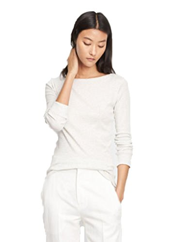 Vince Shirt tail Long Sleeve Ribbed Raw Edge Tee Shirt Top (Large, Heather White) ()