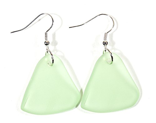 Style ARThouse Seafoam and Surf, Light Green Faux Sea Glass Earrings, Dangle 2.0 Inches