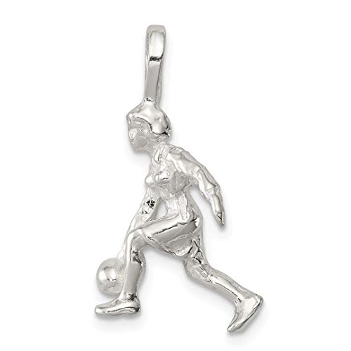 925 Sterling Silver Lady Bowler Pendant Charm Necklace Sport Bowling Fine Jewelry For Women Gift Set
